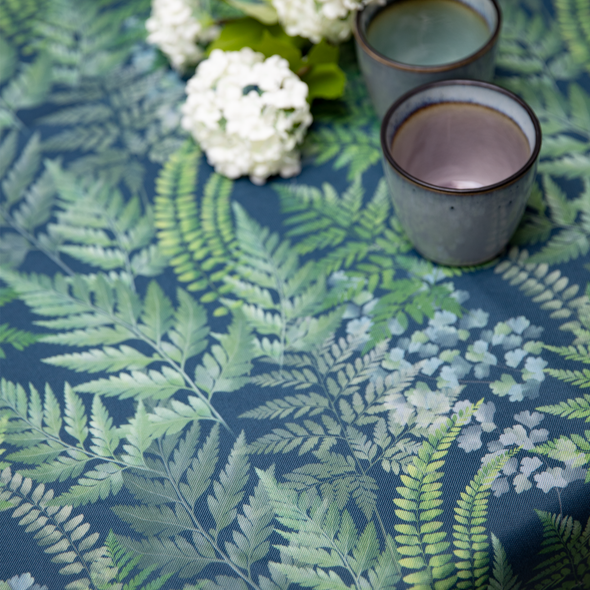 Outdoor Garden Tablecloth AVAILABLE IN 5 SIZES - Optional Centre Hole for Parasol - Ferns
