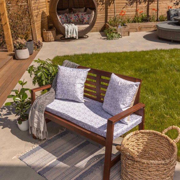 Water Resistant Garden Outdoor Bench Seat Pad - Casablanca Grey (Available in 2-Seater or 3-Seater Size)