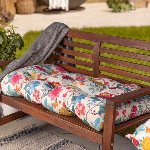 Bench Cushion Seat Pad, Buttoned - 100cm - Midsummer Morning