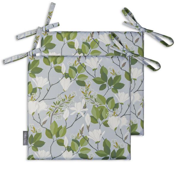 Set of 2 Water Resistant Garden Seat Pads - Magnolia Grey