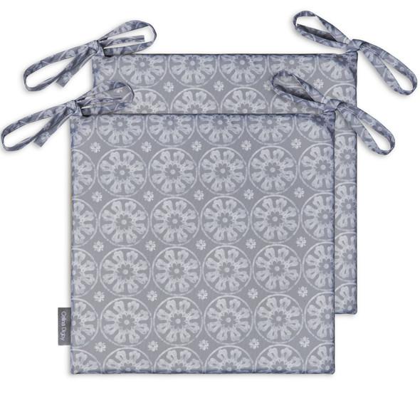 Set of 2 Water Resistant Garden Seat Pads - Casablanca Grey
