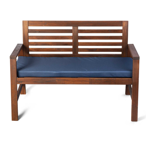Water Resistant Garden Outdoor Bench Seat Pad - Double-Sided Plain Navy Blue (Available in 2-Seater or 3-Seater Size)