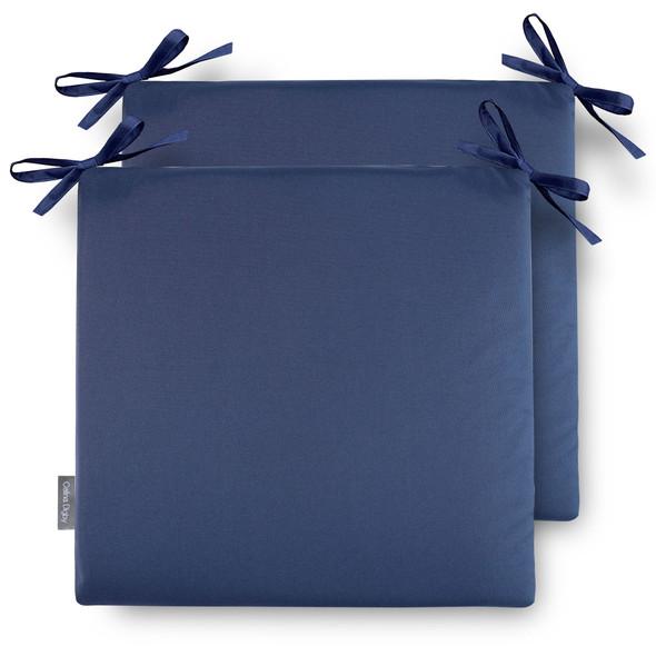 Set of 2 Water Resistant Garden Seat Pads - Navy Blue