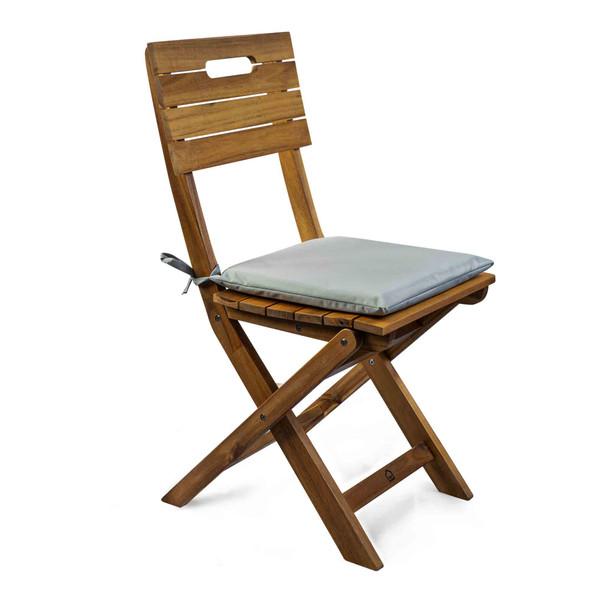 Set of 2 Water Resistant Garden Seat Pads - Light Grey
