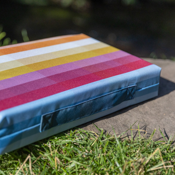 Luxury Garden Kneeler / Kneeling Pad With Handle - Pixel Stripes
