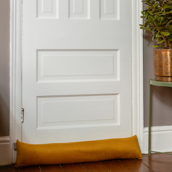 Luxury Velvet Draught Excluder -  Saffron (Available in 2 Sizes)