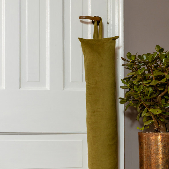 Luxury Velvet Draught Excluder - Olive Green (Available in 2 Sizes)