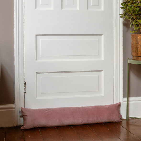 Luxury Velvet Draught Excluder - English Rose Pink (Available in 2 Sizes)