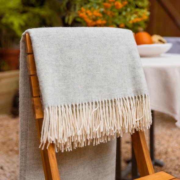 Luxurious 100% Wool Herringbone Blanket - Ash Grey
