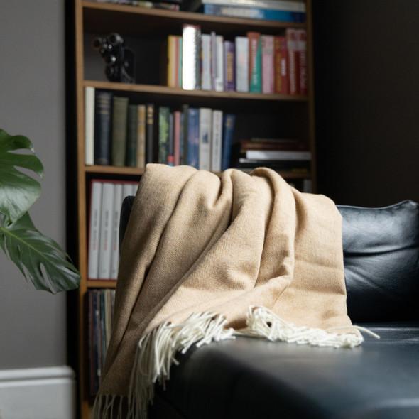 Luxurious 100% Wool Herringbone Blanket - Light Brown