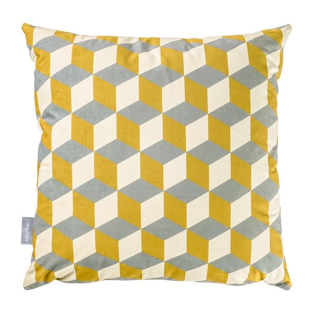 Opulent Velvet Cushion - Cube Mustard