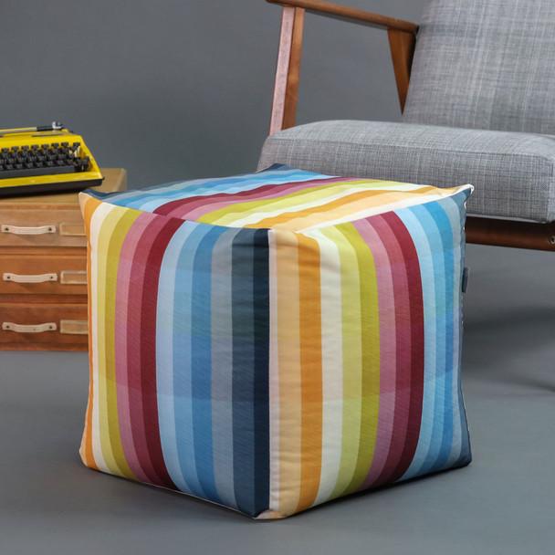 Cube Pouffe - Pixel Stripes
