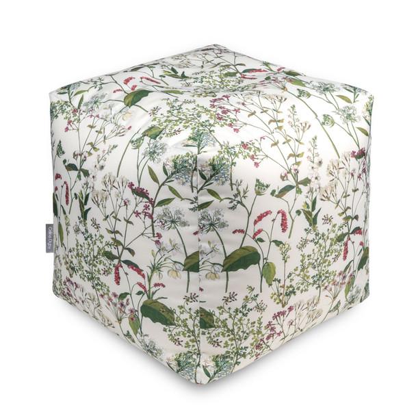 Water Resistant Garden Cube Pouffe - Welsh Meadow Cream