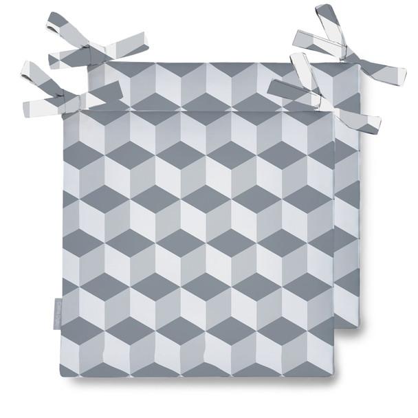 Water Resistant Garden Seat Pads - Cube Grey