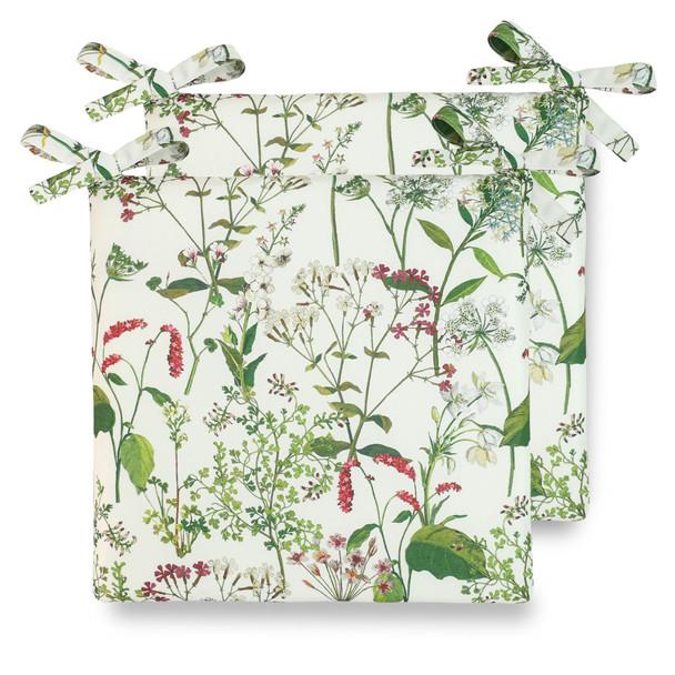 Water Resistant Garden Seat Pads - Welsh Meadow Cream