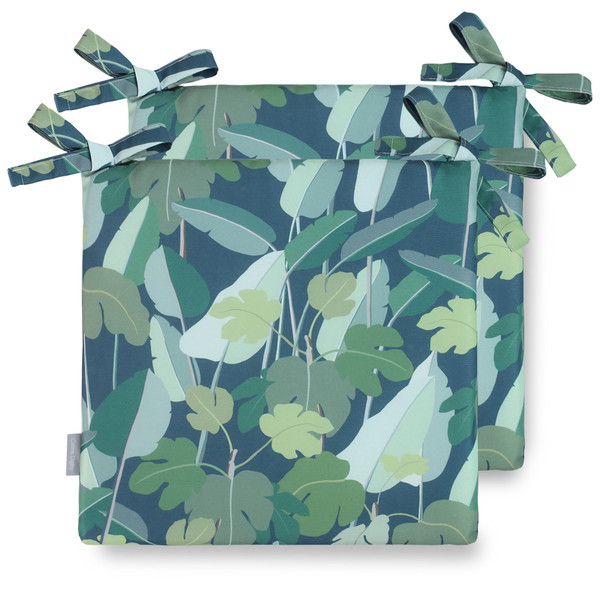 Water Resistant Garden Seat Pads - Palm Leaves