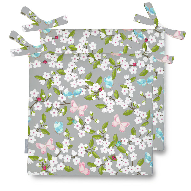 Water Resistant Garden Seat Pads - Cherry Blossom Grey