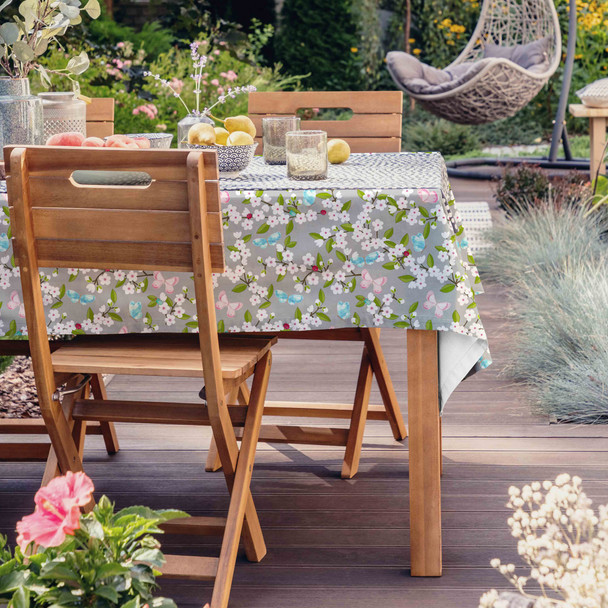 Outdoor Garden Tablecloth AVAILABLE IN 5 SIZES - Optional Centre Hole for Parasol - Cherry Blossom Grey
