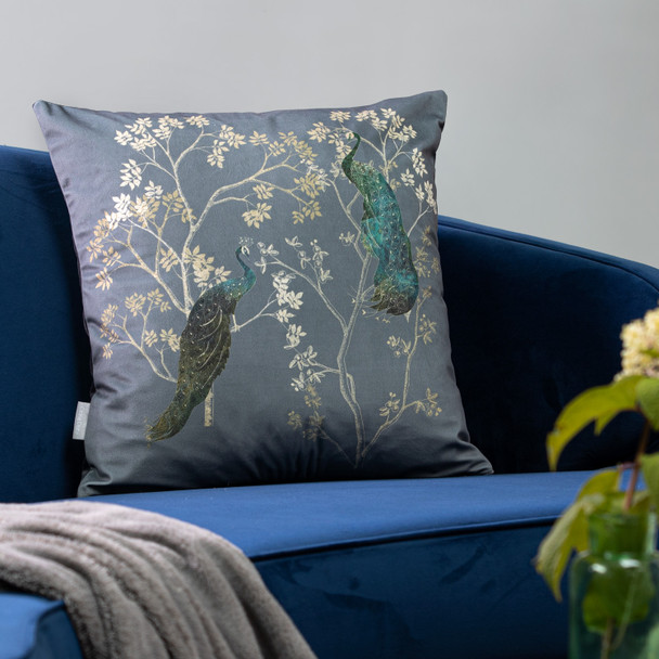Opulent Velvet Cushion - Peacock Grey
