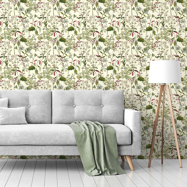 Floral Wallpaper - Welsh Meadow Cream