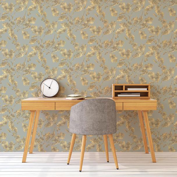 Woodland Wallpaper - Golden Oak Duck Egg