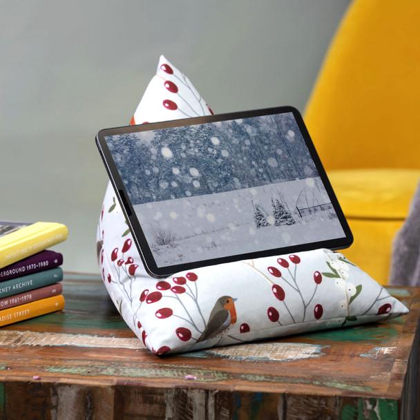 Tablet Beanbag - Robin & Berries Light Grey
