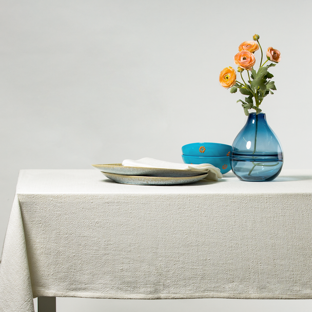Celina Digby Luxury Stonewashed 100% Linen Tablecloth - Available in 7 Sizes - IVORY (off white)