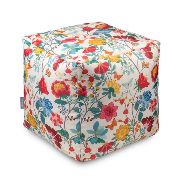 Water Resistant Garden Cube Pouffe - Midsummer Morning