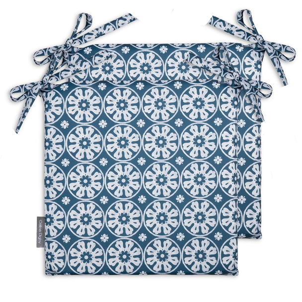 Set of 2 Water Resistant Garden Seat Pads - Casablanca Blue