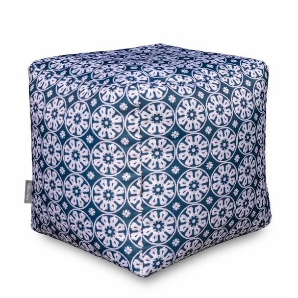Water Resistant Garden Cube Pouffe - Casablanca Navy