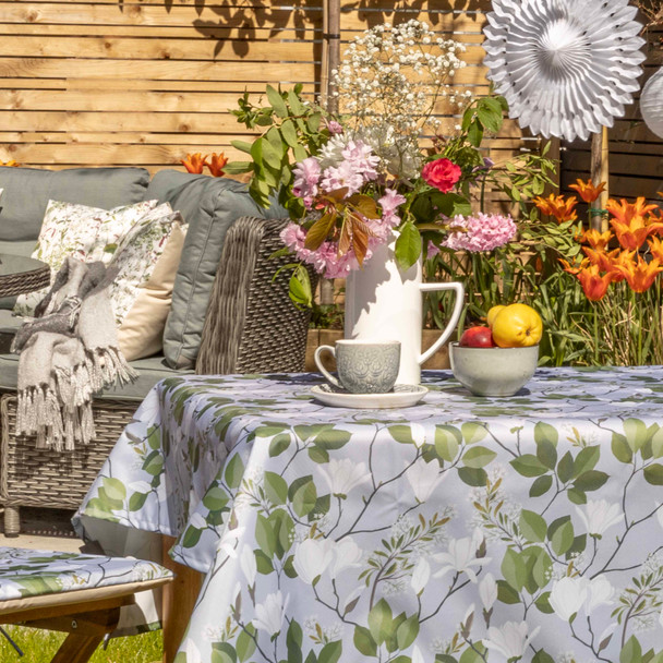 Outdoor Garden Tablecloth AVAILABLE IN 5 SIZES - Optional Centre Hole for Parasol -  Magnolia Grey