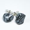 Snowflake Obisidian Stone Cufflinks