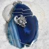 Cornucopia Charm on a Wire Wrapped Agate Slice Ornament for Thanksgiving - Choose Your Agate Slice Color- Made to Order