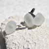 Frosted White Sea Glass Men's Jewelry Set