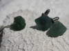Olive Green Sea Glass Cufflinks and Tie Tack