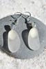 Dangling White Sea Glass Earrings