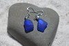 Beautiful Pair of Surf Tumbled Dangling Cobalt Blue Sea Glass Earrings - (1 Set) - Made to Order