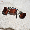 Tumbled Red Tiger's Eye Cufflinks and Tie Tack