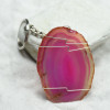 Pink Sliced Agate Keychain