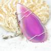 Pink Agate Slice Keychain