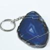 Blue Agate Slice Keychain