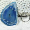 Sliced Blue Agate Keychain