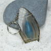Wire Wrapped Blue Agate Slice Keychain