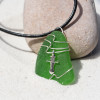 Dagger Charm on a Surf Tumbled Sea Glass Pendant and Necklace - Choose the Color - Frosted, Green, Brown, or Aqua - Made to Order