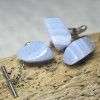 Blue Lace Agate Stone Cufflinks and Tie Tack Set - 1 Pair Cufflinks, 1 Tie Tack in a Set - Made to Order