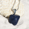 Tumbled Dumortierite Stone Necklace - Choose Sterling Silver Chain or Leather Cord - Quantity of 1 - Made to Order