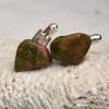 Unakite Jasper Stone Cufflinks Handmade - 1 Set - Made to Order