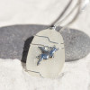 When Pigs Fly Charm on a Surf Tumbled Sea Glass Pendant and Necklace - Choose the Color - Frosted, Green, Brown, or Aqua - Made to Order
