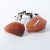 Peach Quartz Stone Cufflinks Handmade - 1 Set - Made to order