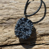 Snowflake Obsidian Palm Stone Hand Wire Wrapped on a Leather Thong Necklace